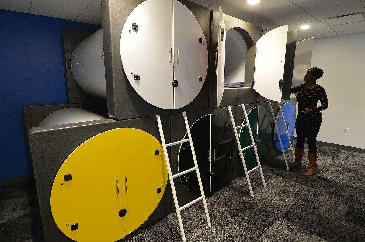 Hour Photo/Alex von Kleydorff Sleep Pods are part of the new environment at Datto as it expands its floor space at 101 Merritt View in Norwalk