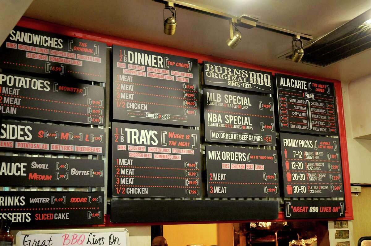 The menu at Burns Original BBQ Friday June 10, 2016.
