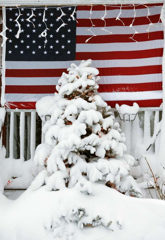Snow covers the tree in front of a house the day after a winter storm in Scituate, Mass., Wednesday, Jan. 28, 2015. Residents of Massachusetts woke up Wednesday to cars buried in several feet of snow, and secondary roads that remain covered.(AP Photo/Michael Dwyer)