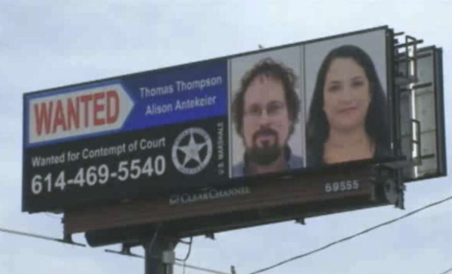 This image from undated video provided by WSYX-TV shows the wanted billboard for fugitives Tommy Thompson and Alison Antekeier. The U.S. Marshals Service captured former fugitive Tommy Thompson at a Hilton hotel in West Boca Raton on Tuesday Jan. 27, 2015. Thompson had been on the lam for two years, accused of cheating investors out of their share of $50 million in gold bars and coins he had recovered from the 19th century shipwreck S.S. Central America. (AP Photo/WSYX-TV)