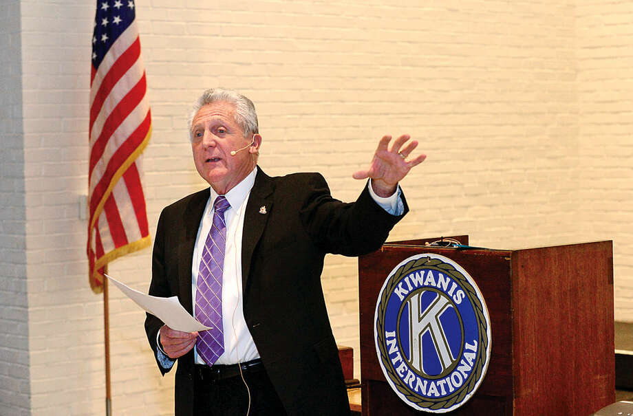 Hour photo / Erik Trautmann Norwalk Mayor Rilling gives the keynote address at the Wilton Kiwanis Club monthly meeting Wednesday at Wilton Episcopal/Presbyterian Church.