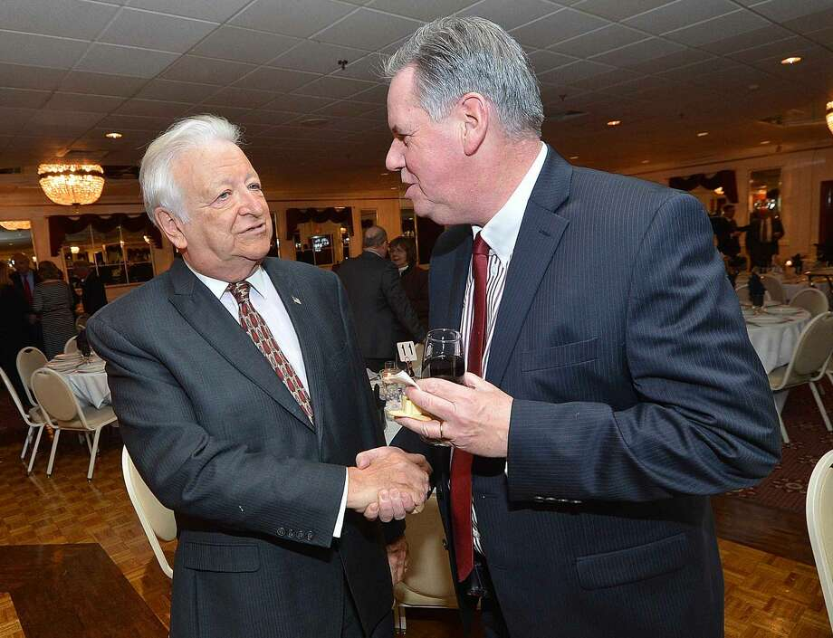 Hour Photo/Alex von Kleydorff Greater Norwalk Chamber of Commerce President Ed Musante and former Mayor Richard Moccia at the Tribute Dinner for Larry Cafero