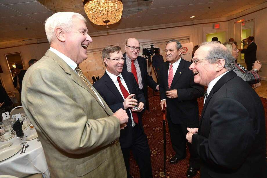 Hour Photo/Alex von Kleydorff Former Speaker of The House Tom Ritter talks with Bob Ward, Ed Maley, Ray Collins and John King at the Larry Cafero tribute dinner