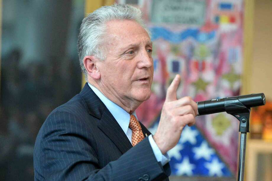 Hour Photo/Alex von Kleydorff At the Stamford Government Center, Norwalk Mayor Harry Rilling talks to the crowd of students during a press conference on National Teen Dating Violence Awareness Month