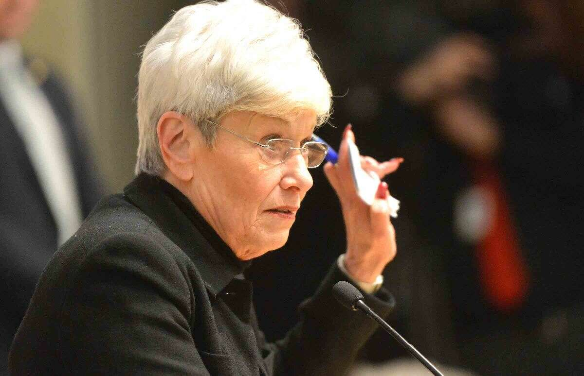 Hour Photo/Alex von Kleydorff Lt Governor Nancy Wyman with questions from the audience in her hand during a Town Hall Meeting at UCONN