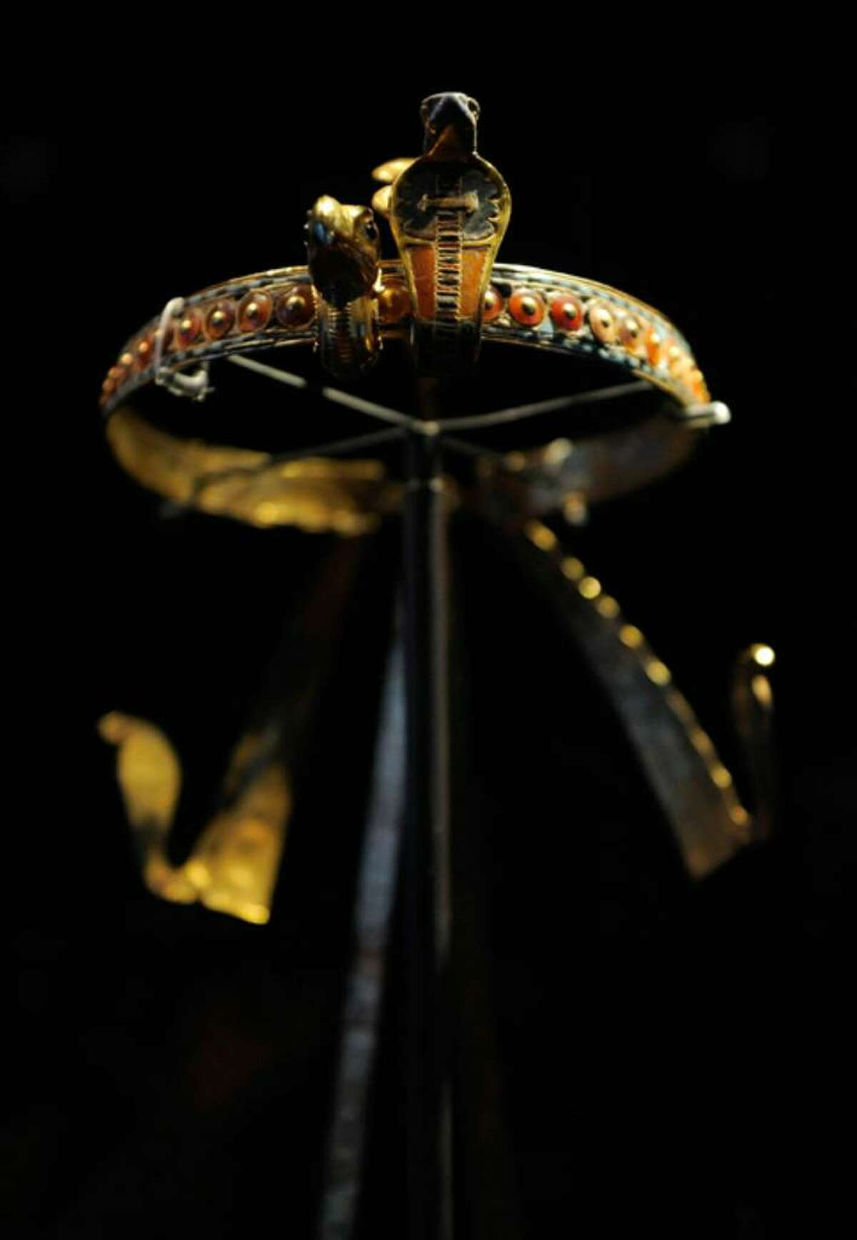 NEW YORK - APRIL 21: A view of the Inlaid Diadem found on the head of the Pharoh Tutankhamun on display during the press preview of the
