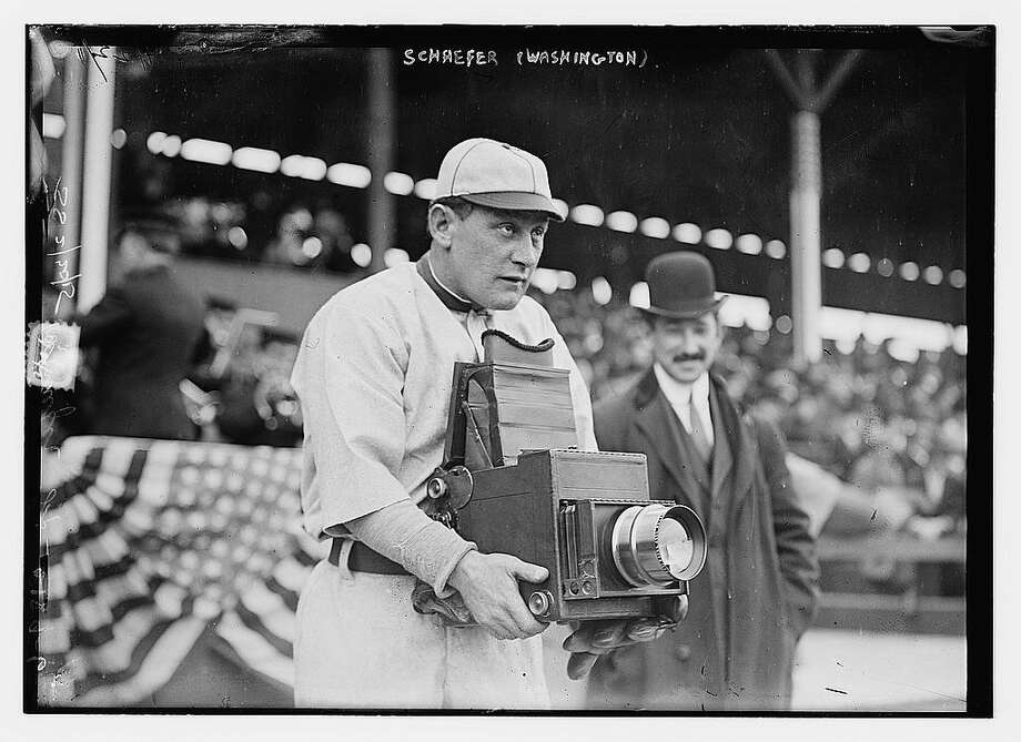 """Photo shows Herman A. ""Germany"" Schaefer (1876-1919), one of the most entertaining characters in baseball history, trying out the other side of the camera during the Washington Senators visit to play the New York Highlanders in April, 1911. Germany Schaefer, a versatile infielder and quick baserunner, played most of his career with the Detroit Tigers and the Washington Senators."" -Library of Congress. Photo: Library Of Congress"