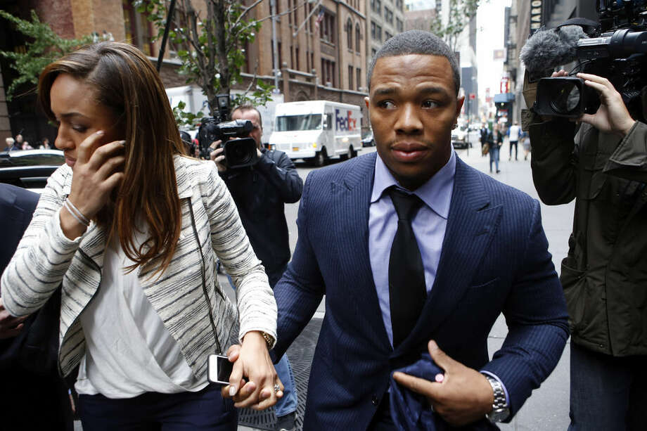 FILE - In this Nov. 5, 2014, file photo, Ray Rice arrives with his wife Janay Palmer for an appeal hearing of his indefinite suspension from the NFL in New York. A former FBI director hired to look into how the NFL pursued evidence in the Ray Rice abuse case says the league should have investigated the incident more thoroughly before it initially punished the player. Robert Mueller released the report Thursday, Jan. 8, 2015, saying that the NFL had substantial information about the case and could have obtained more. (AP Photo/Jason DeCrow, File)