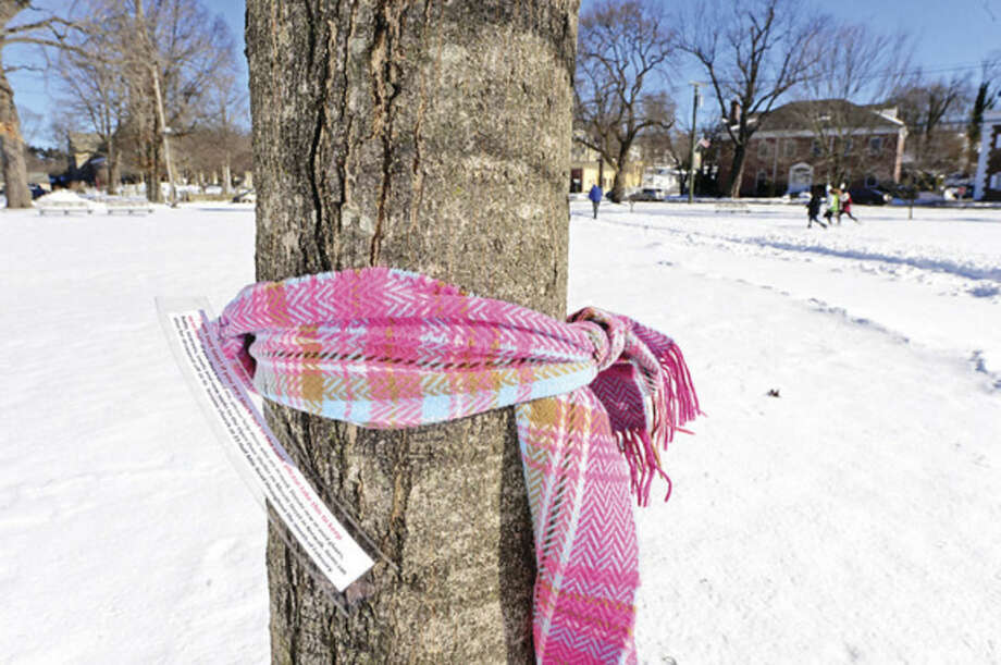 Hour photo / Erik Trautmann St. Jerome Church Youth Group in Norwalk tied over 55 scarves around trees and poles around Norwalk with a note asking people to donate winter clothes to the open door shelter as part of a community service project Saturday morning. The group hoped to raise awareness about the increased needs of the homeless that come with the freezing temperatures.