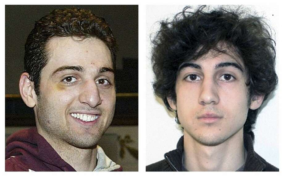 FILE - This combination of file photos shows brothers Tamerlan, left, and Dzhokhar Tsarnaev, suspects in the Boston Marathon bombings on April 15, 2013. Lawyers for Boston Marathon bombing suspect Dzhokhar Tsarnaev are pinning their best hopes for saving his life on his dead older brother, Tamerlan. The defense is expected to portray Tamerlan Tsarnaev as the mastermind behind the twin explosions that killed 3 people and wounded more than 260 near the finish line of the 2013 race. He died days later after a gun battle with police. (AP Photos/Lowell Sun and FBI, File)