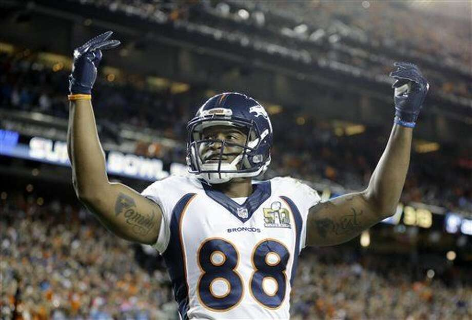 Denver Broncos Demaryius Thomas (88) celebrates as the clock winds down in the second half of the NFL Super Bowl 50 football game against the Carolina Panthers, Sunday, Feb. 7, 2016, in Santa Clara, Calif. The Broncos defeated the Panthers 24-10. (AP Photo/Ben Margot)