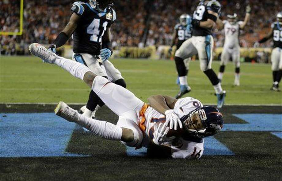 Denver Broncos' Bennie Fowler (16) scores a two point conversion during the second half of the NFL Super Bowl 50 football game Sunday, Feb. 7, 2016, in Santa Clara, Calif. (AP Photo/Ben Margot)