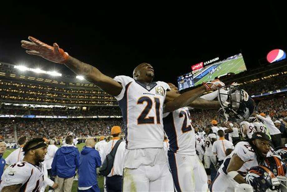 Denver Broncos' Aqib Talib (21) celebrates during the second half of the NFL Super Bowl 50 football game against the Carolina Panthers, Sunday, Feb. 7, 2016, in Santa Clara, Calif. (AP Photo/David J. Phillip)