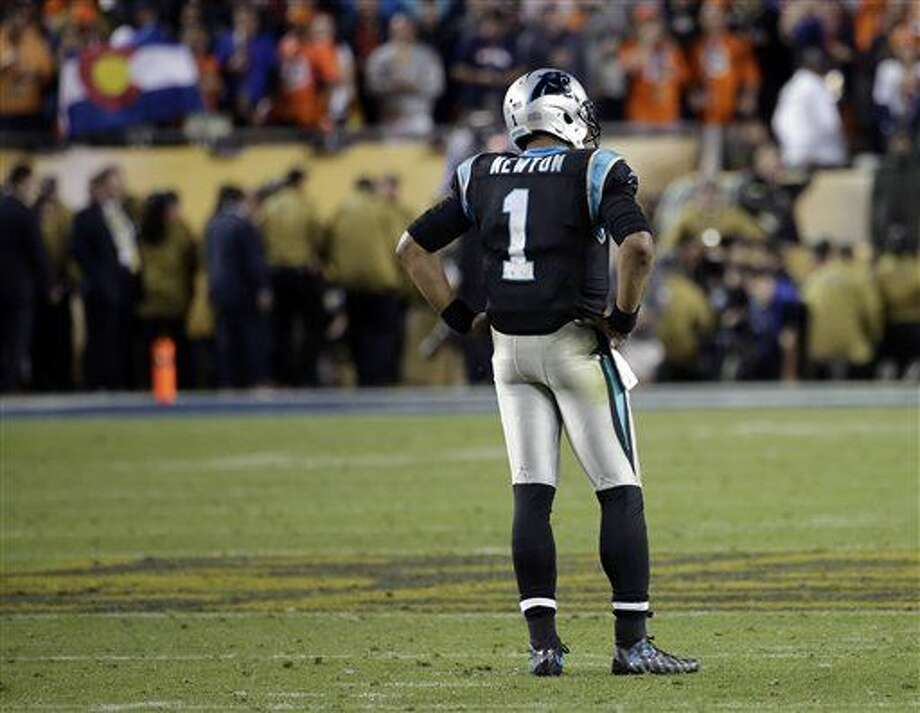 Carolina Panthers' Cam Newton stands on the field as the clock winds down in the second half of the NFL Super Bowl 50 football game against the Denver Broncos, Sunday, Feb. 7, 2016, in Santa Clara, Calif. The Broncos defeated the Panthers 24-10. (AP Photo/Matt York)