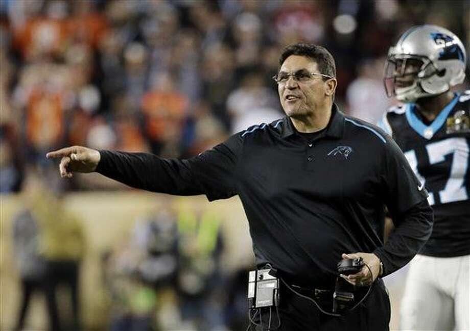 Carolina Panthers' head coach Ron Rivera yells during the second half of the NFL Super Bowl 50 football game Sunday, Feb. 7, 2016, in Santa Clara, Calif. (AP Photo/Matt York)