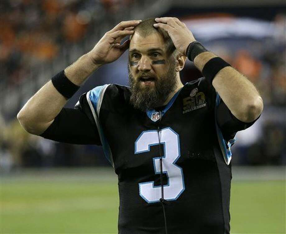 Carolina Panthers' Derek Anderson (3) reacts during the second half of the NFL Super Bowl 50 football game against the Denver Broncos Sunday, Feb. 7, 2016, in Santa Clara, Calif. (AP Photo/Gregory Bull)