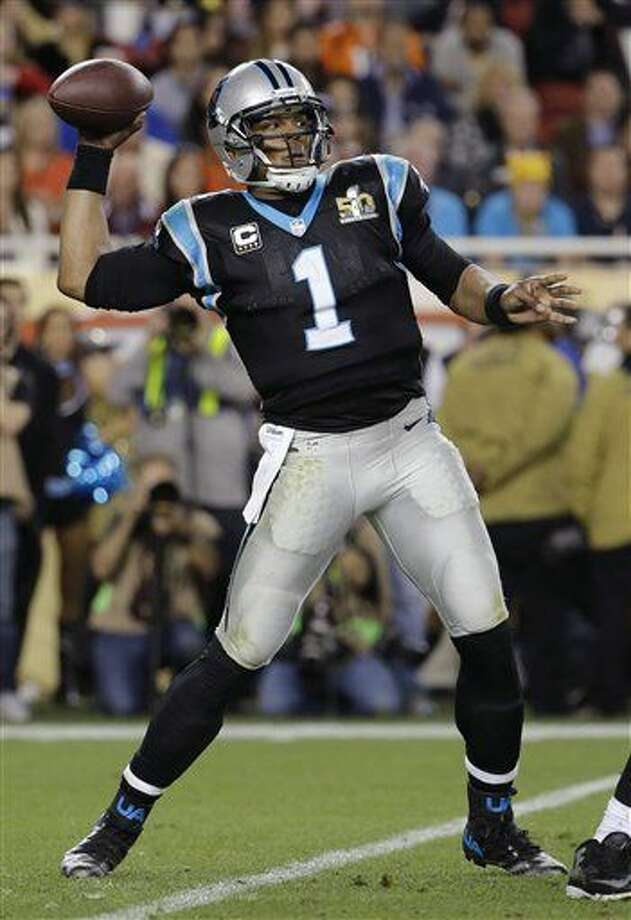 Carolina Panthers' Cam Newton (1) passes against the Carolina Panthers during the second half of the NFL Super Bowl 50 football game Sunday, Feb. 7, 2016, in Santa Clara, Calif. (AP Photo/Julio Cortez)