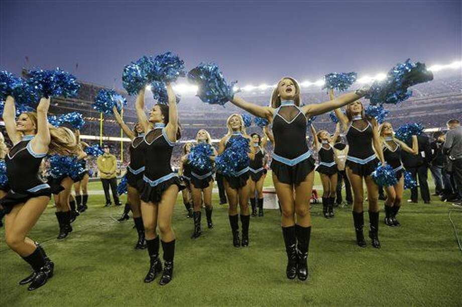 Carolina Panthers cheerleaders perform during the second half of the NFL Super Bowl 50 football game between the Denver Broncos and the Carolina Panthers, Sunday, Feb. 7, 2016, in Santa Clara, Calif. (AP Photo/Gregory Bull)