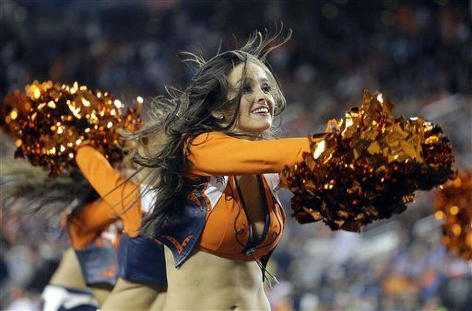 Denver Broncos cheerleaders perform during the second half of the NFL Super Bowl 50 football game between the Broncos and the Carolina Panthers, Sunday, Feb. 7, 2016, in Santa Clara, Calif. (AP Photo/Julie Jacobson)