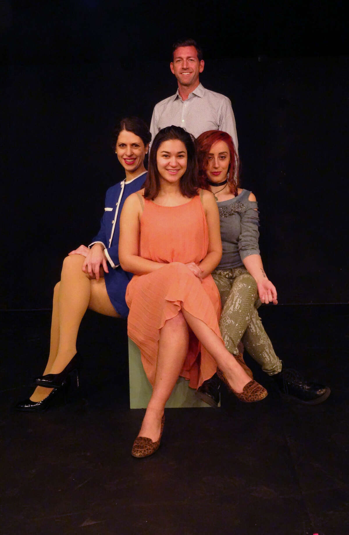 """The perpetual bachelor, Robert, is constantly surrounded by """"available"""" women and many married friends in the Stephen Sondheim/ George Furth musical, """"Company,"""" playing in Curtain Call's Dressing Room Theatre Feb. 11 through March 5. Seen here as Bobbie is John Congdon with Anna Oxman, Rachel Schulte and Lisa Dahlstrom."""