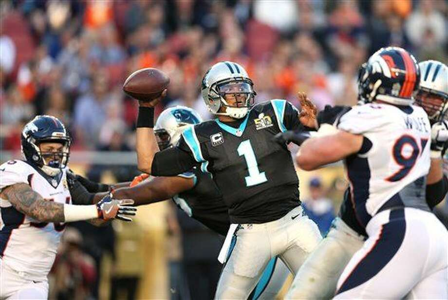 Carolina Panthers quarterback Cam Newton (1) throws a pass against the Denver Broncos during Super Bowl 50, Sunday, Jan. 7, 2016 in Santa Clara, Calif. (AP Photo/Doug Benc)