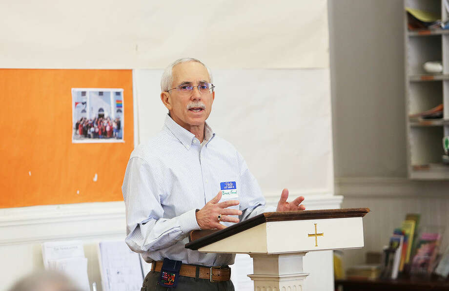 In this file photo, Bruce Kimmel speaks during the League of Women Voters presentation about the league and commissions at First Congregational Church on the Green in Norwalk Sunday afternoon. Hour Photo / Danielle Calloway