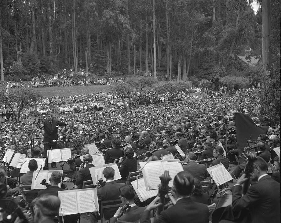 Concertgoers sit among the trees above the main lawn at Sigmund Stern Grove, June 1948. Photo: Bill Young, The Chronicle