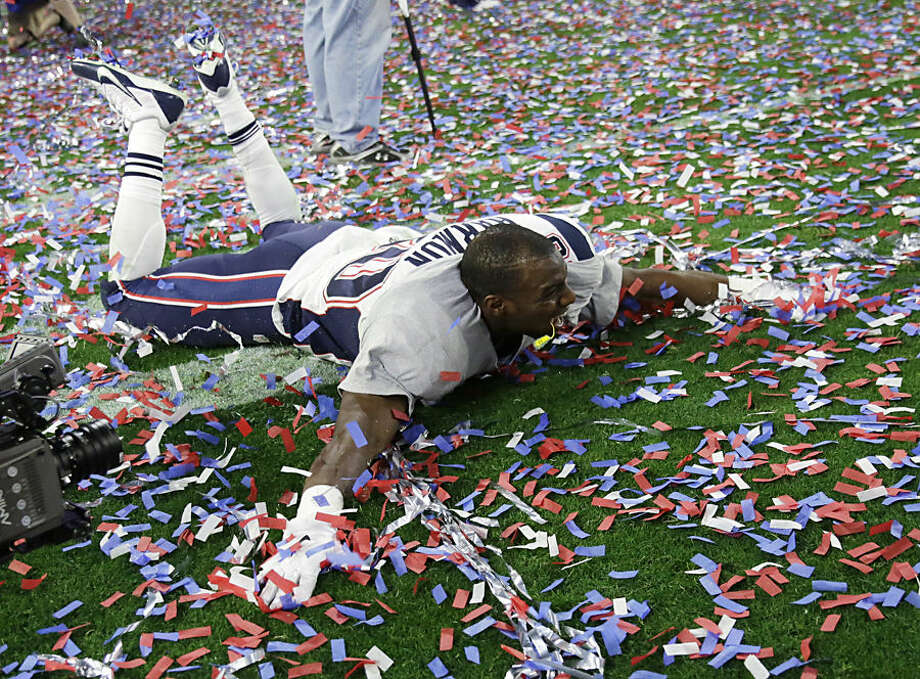 New England Patriots strong safety Duron Harmon (30) celebrates after the NFL Super Bowl XLIX football game against the Seattle Seahawks Sunday, Feb. 1, 2015, in Glendale, Ariz. The Patriots won 28-24. (AP Photo/David Goldman)