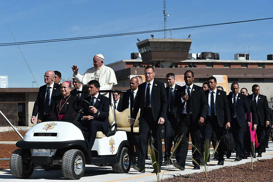 Pope Francis visits the CeReSo n. 3 prison in Ciudad Juarez, Mexico, Wednesday, Feb. 17, 2016. Pope Francis is wrapping up his trip to Mexico with a visit to the prison just days after a riot in another lockup killed dozens of inmates. (Gabriel Bouys/Pool Photo via AP)