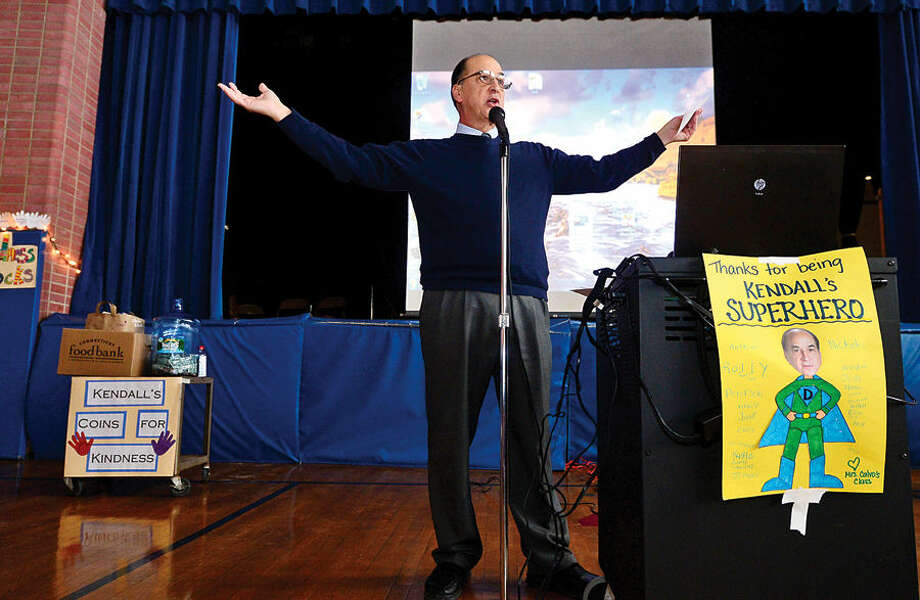 Hour photo / Erik Trautmann Kendall Elementary School principal, Tony Ditrio, leads The Great Kindness Challenge assembly Tuesday culminating a week of events that are part of Kendall's ongoing anti-bullying and positive citizenship program.