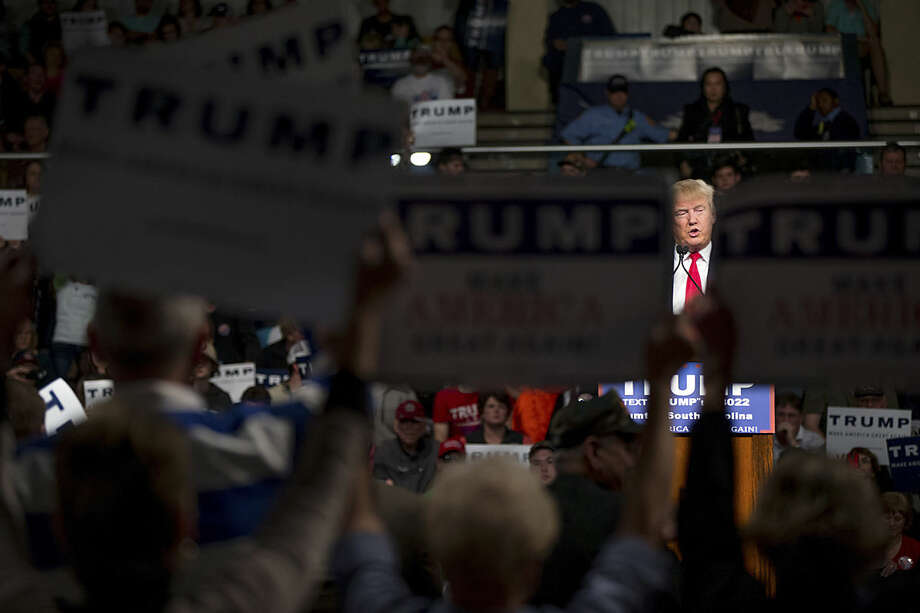 Republican presidential candidate Donald Trump speaks at a rally at Sumter Country Civic Center in Sumter, S.C., Wednesday, Feb. 17, 2016. (AP Photo/Andrew Harnik)