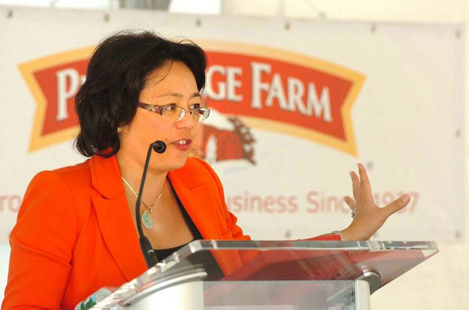Hour Photo/ Alex von Kleydorff. Pepperidge Farm President Irene Chang Britt speaks before the ribbon is cut at the new Pepperidge Farm Innovation Center in Norwalk