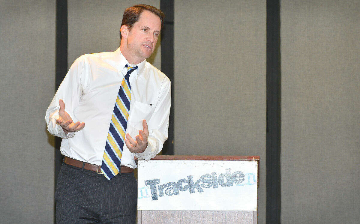 Congressman Jim Himes speaks about politics in Hartford and Washington during a Town Hall Meeting at Trackside Teen Center in Wilton.