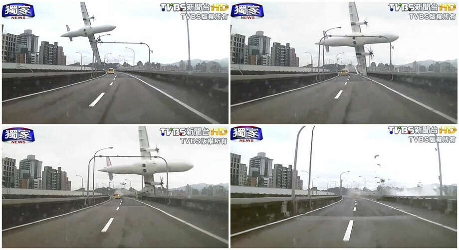 In this combination photo, a series of images taken from video provided by TVBS show a commercial airplane clipping an elevated roadway just before it careened into a river in Taipei, Taiwan, Wednesday, Feb. 4, 2015. The ATR-72 prop-jet aircraft had 58 people aboard. (AP Photo/TVBS) TAIWAN OUT; ATV HONG KONG OUT;