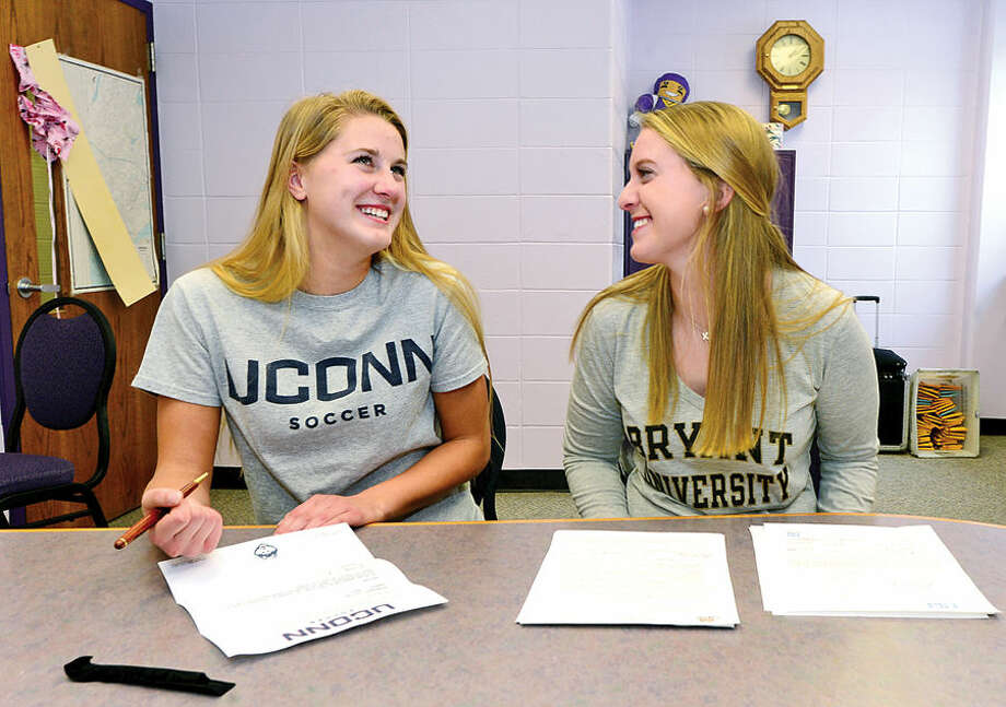 Hour photo / Erik Trautmann Westhill High School girls soccer players Heidi Druehl and Rachel benz who signing National Letters of Intent for D-1 schools UConn and Bryant respectively.
