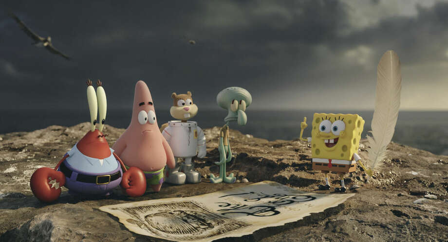 "AP Photo/Paramount Pictures and Nickelodeon MoviesThis image released by Paramount Pictures and Nickelodeon Movies shows characters, from left, Mr. Krabs, Patrick Star, Sandy Cheeks, Squidward Tentacles, and SpongeBob SquarePants in a scene from ""The Spongebob Movie: Sponge Out of Water."""