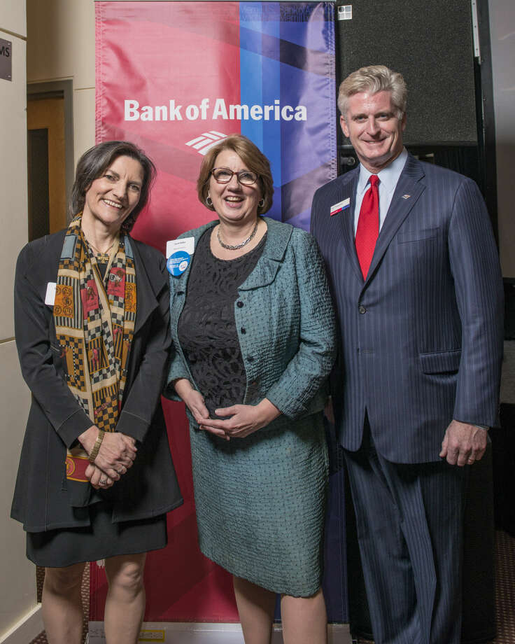 Pictured from left to right: Catalina Horak, executive director, Neighbors Link Stamford; Carol J. Heller, Southern CT Market Manager, Enterprise Business & Community Engagement, Bank of America; William R. Tommins, president - Southern CT, Bank of America.