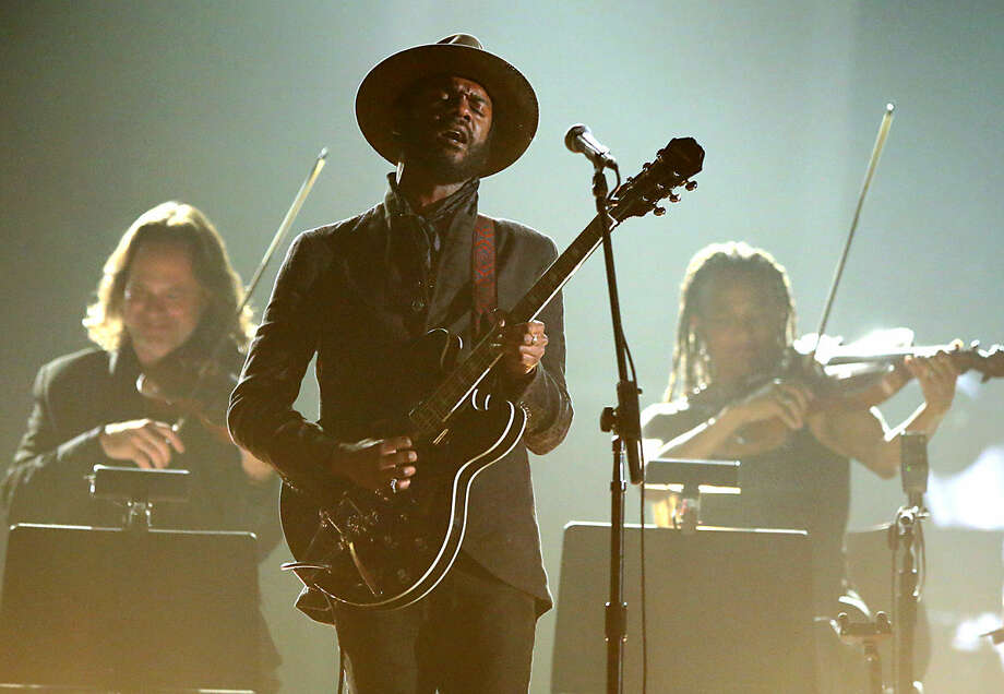 Gary Clark Jr. performs a tribute to B.B. King at the 58th annual Grammy Awards on Monday, Feb. 15, 2016, in Los Angeles. (Photo by Matt Sayles/Invision/AP)
