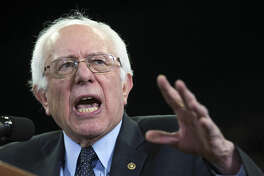 Democratic presidential candidate Sen. Bernie Sanders, I-Vt., speaks during a rally at Eastern Michigan University, on Monday, Feb. 15, 2016, in Ypsilanti, Mich. (AP Photo/Evan Vucci)