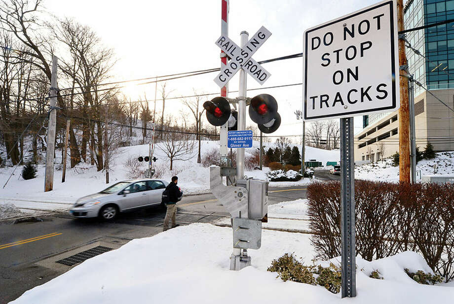 Hour photo / Erik Trautmann Railroad crossing at Glover St on the Danbury Line in Norwalk. Does Metro-North Railroad have safety measures in place along Danbury and New Canaan lines to prevent accidents at crossings like the one that ocurred Tuesday in Valhalla, NY?