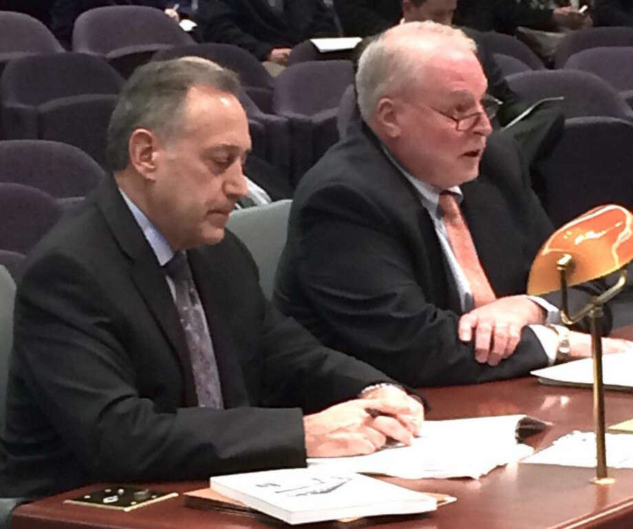 KEITH M. PHANEUF / CTMIRROR.ORGJudge Patrick L. Carroll III, right, chief court administrator, testifies. At left is Tom Siconolfi, executive director of administrative services for the Judicial Branch.
