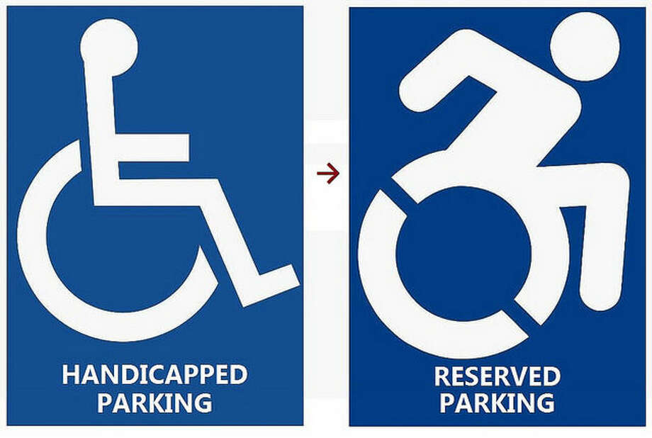 Gov. Dannel P. Malloy has proposed changing the state's current handicap parking sign, left, to a new design, right, to reflect the diverse community that uses handicap parking spaces.