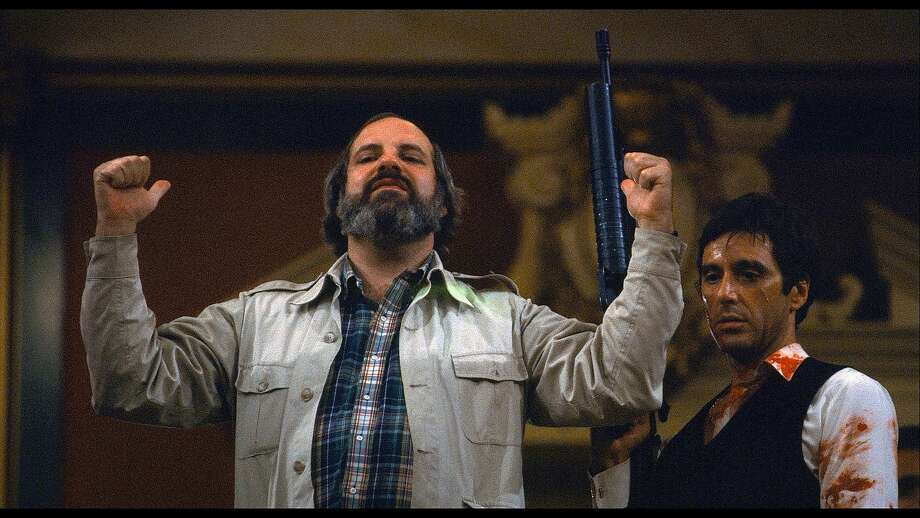 "Brian De Palma (left) and Al Pacino during the making of the 1983 film ""Scarface,"" as seen in the documentary ""De Palma."" Photo: A24"