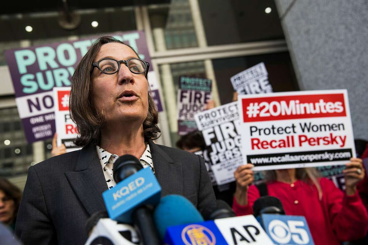 Michele Landis Dauber, a law professor and sociologist at Stanford University, speaks at a press conference held before the delivery of nearly one million signatures demanding the removal of Judge Aaron Persky to California Commission on Judicial Performance at the State of California Building in San Francisco, CA on June 10, 2016. Judge Persky has come under fire for giving what many consider a lenient sentence to Brock Turner, a convicted rapist.