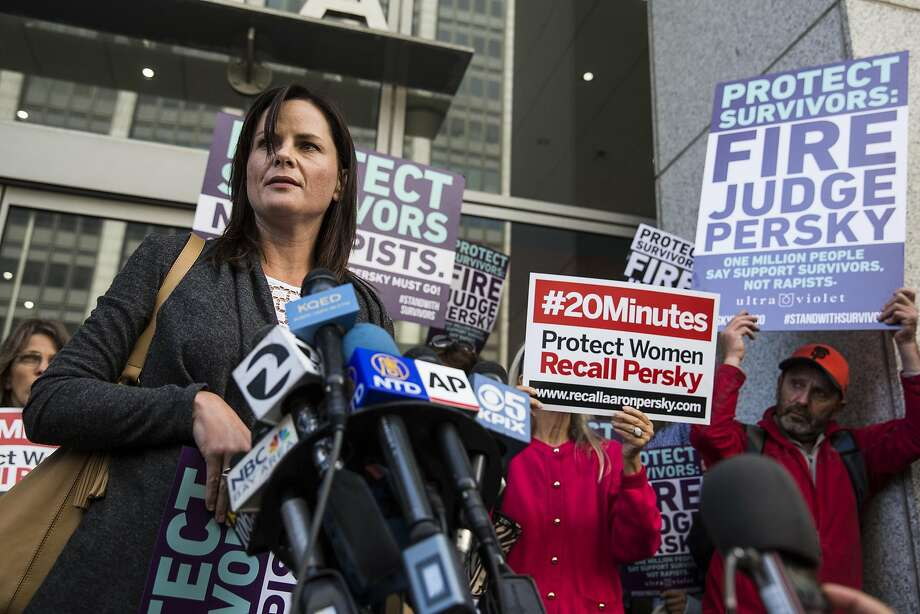 Joanna Shell, a victim of rape, speaks at a press conference held before the delivery of nearly one million signatures demanding the removal of Judge Aaron Persky to California Commission on Judicial Performance at the State of California Building in San Francisco, CA on June 10, 2016. Judge Persky has come under fire for giving what many consider a lenient sentence to Brock Turner, a convicted rapist. Photo: Andrew Burton, Special To The Chronicle