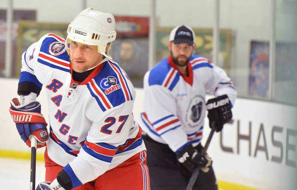 Hour Photo/Alex von Kleydorff NY Rangers current players and alumni like Alexei Kovalev, hold hockey clinics and take to the ice at SONO Ice House with 'NY Rangers Assist' program to benefit Hockey in Norwalk Foundation