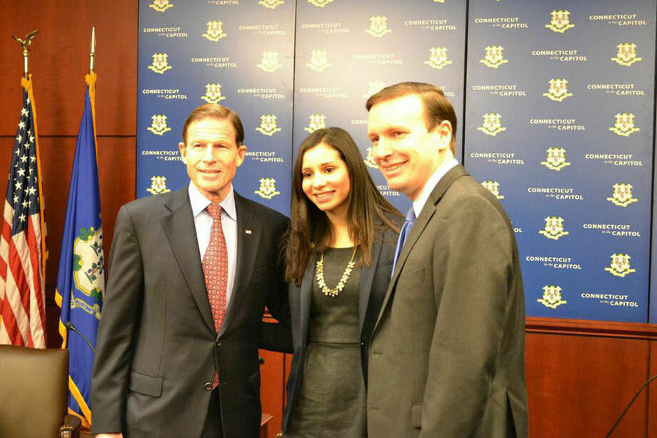 Contributed photoNorwalk Councilwoman Eloisa Melendez with Connecticut Senators Richard Blumenthal and Chris Murphy is Washington D.C. earlier this week.