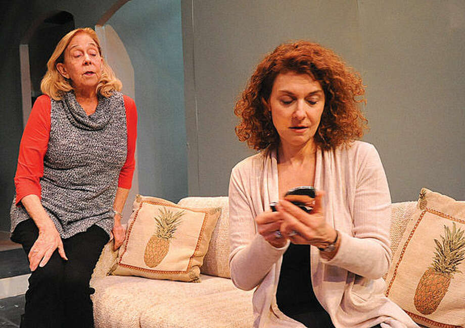 """Jessie Gilbert as """"Becca"""" and Nancy Thode as """"Judith"""" in a dress rehearsal for """"The Commons of Pensacola"""" at the Wilton Playshop."""