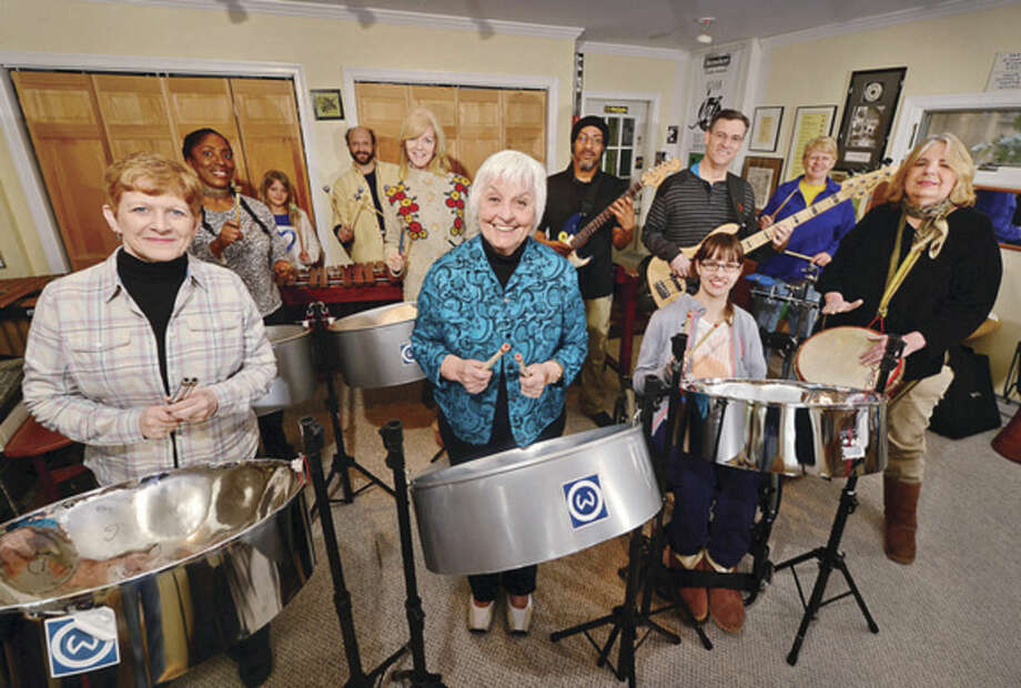 Members of the The Wilton Community Steel Drum Band, front row: Ellie Dwyer-Rigby, Darla Shaw, Alida Schefers, Karin Lewis-Cook. Back row: Donna Rogers-Jones, Isabella Jasinski, Arthur Lipner, Barbara Apuzzo, Robert Rogers, Peter Spung and Julie Wolfer. Not pictured: Stephen Blinder, and Dave McNamara.
