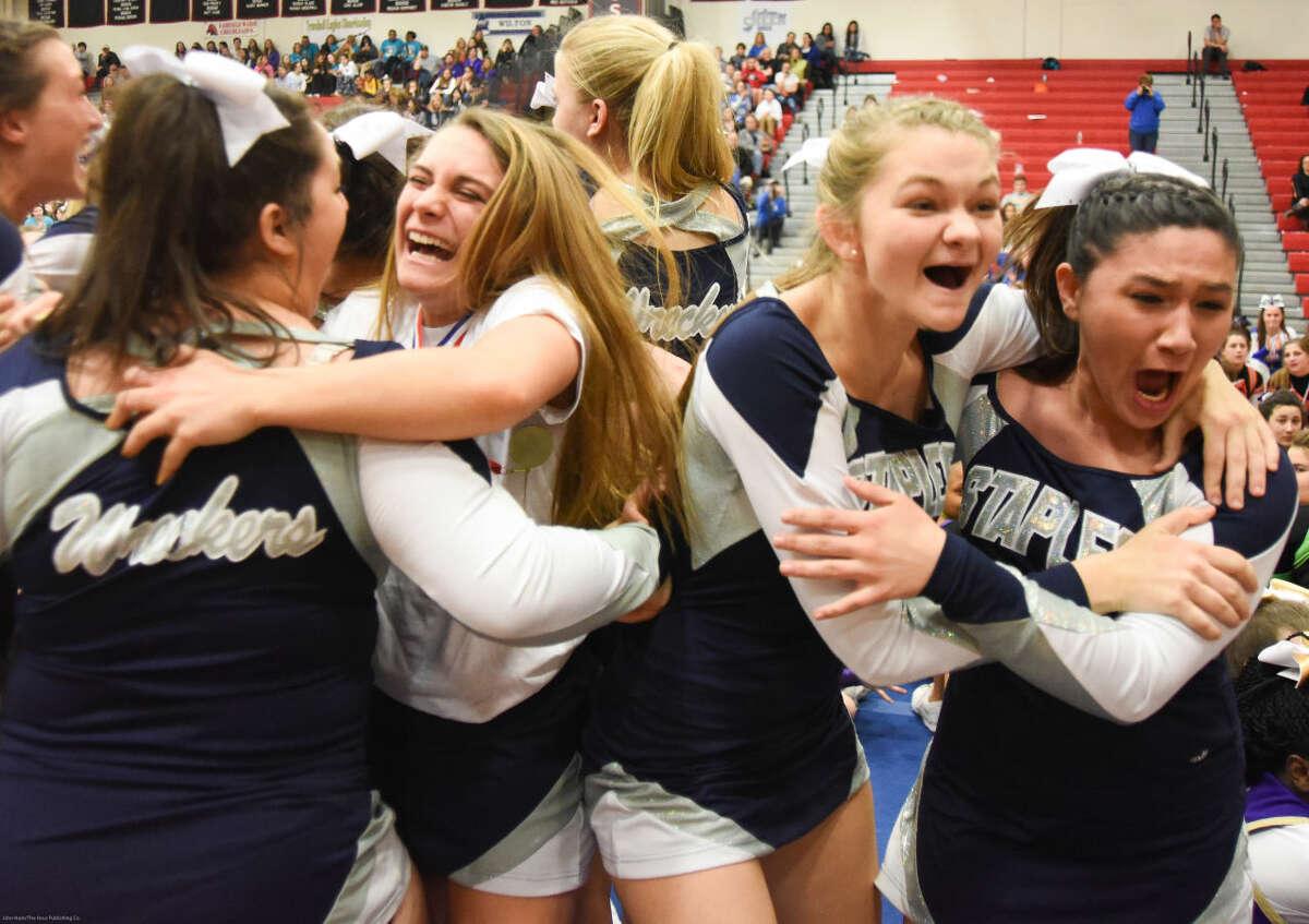Hour photo/John Nash - The FCIAC Cheerleading championship was held Saturday at Fairfield Warde High School.